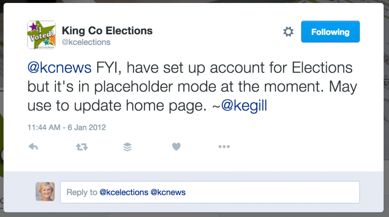 King County Elections tweet